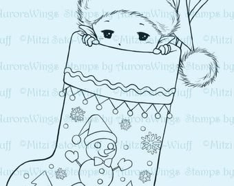 Stocking Sprite - Aurora Wings Digital Stamp - Christmas Holiday Fairy Image - Fantasy Line Art for Arts and Crafts by Mitzi Sato-Wiuff
