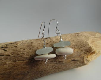 Cornish Sea Glass & Pottery Stack Earrings - Sterling Silver - Cornwall