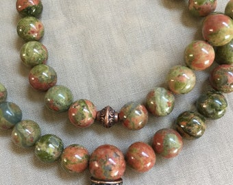 Unakite  Mala 108 Beads // Prayer Beads // Mens Mala Necklace // Natural Stones // Meditation