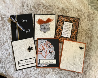 Handmade greeting cards: Set of 6 Halloween cards, skeleton, bat, crows, spiders, witch's potion, creepy, spider web, trick or treat