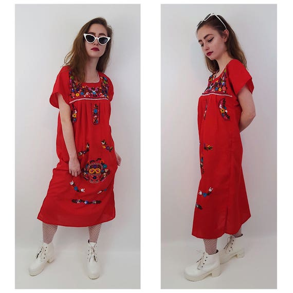 Vintage Colorful Embroidered Mexican Midi Dress Small Medium - Puebla Peasant Dress - Vtg Handmade Red Floral Cotton Caftan Folk Dress