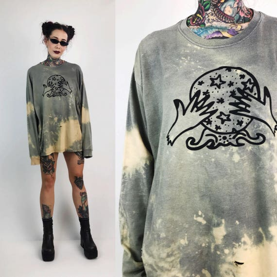 Crystal Ball Tie Dye Bleach Distressed Long Sleeve Tee Large - Rustic Cosmic Circle Logo Screen Printed Upcycled Grunge Crystal Ball Shirt