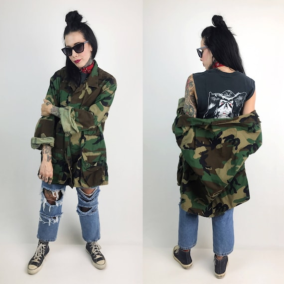 Vintage Military Camouflage Cargo Jacket Large Unisex - Drab Army Cargo Jacket US Military Vintage Uniform Outerwear - Baggy Camo Print Coat
