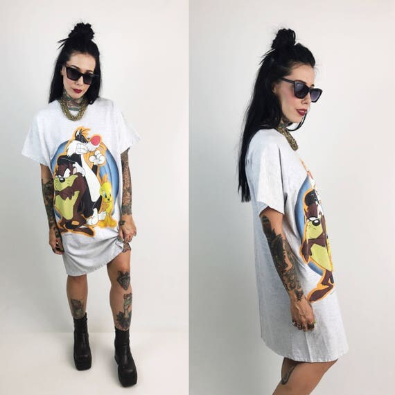 90's Looney Tunes Cartoon Long T-Shirt Sleep Tee XL Plus Size - Looney Tunes Tee Shirt Dress Baggy Shirt Cartoon Tasmanian Devil Tweety Bird