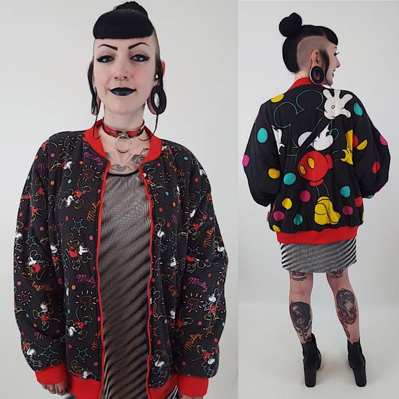 1990s RARE Reversible Mickey Mouse Cotton All Over Print Racer Jacket Medium Large - 90s Black Polka Dot Disney Cartoon Zip Up Disney Bomber