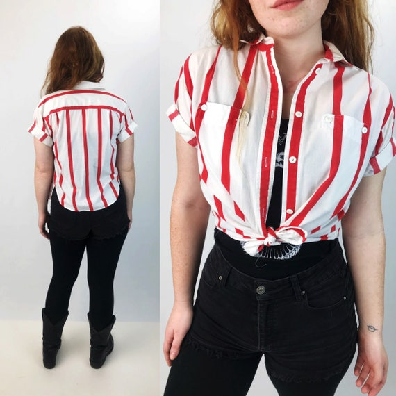 90's Striped Short Sleeve Cotton Button Up Small - All Over Print Red White Vertical Stripe Casual Top With Collar - White Nautical Stripes