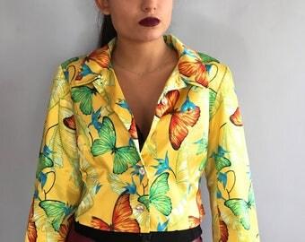 Vintage Kenzo Jungle floral satin jacket padded shoulders 80s Kenzo flower print boxy blazer tropical print cropped jacket butterflies satin