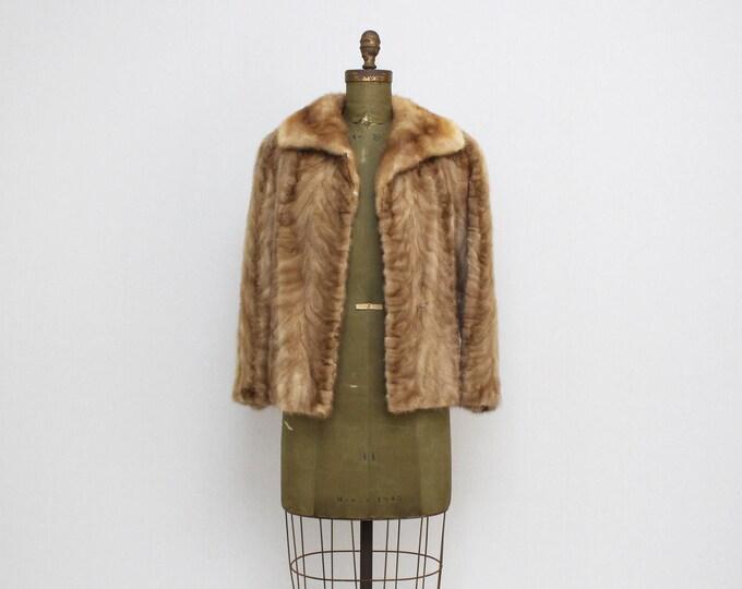 Vintage 1960s Blonde Mink Short Coat - Size Small