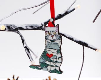 Cat Christmas decoration - crazy cat lady gift - WOODEN cat Xmas decoration cat lover gift - tabby cat gift - christmas cat ornament