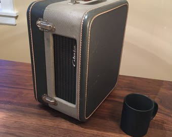 1955 Columbia 3 Speed Record Player, Blue/Grey Suitcase Portable, Nicely Playing