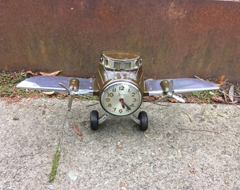 1940s Sessions Airplane Clock, Nicely Working, Mastercrafters