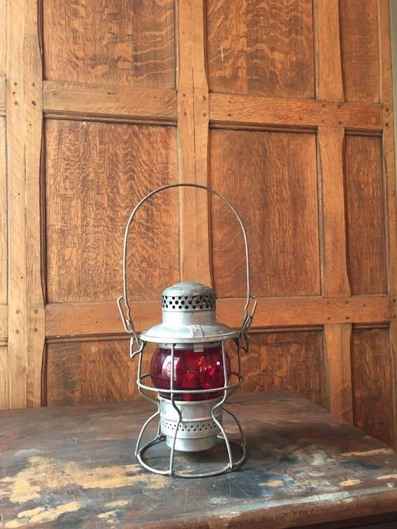 Vintage Adlake Railroad Lantern, Red Globe Kero Lantern, Lantern Decor