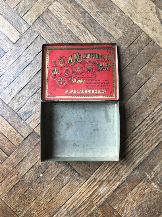 Antique Cigarette Tin, Vintage Cigarette Case, M. Melachrino & Co. The American Tobacco Co. Tobacciana, Industrial Storage