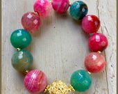 Multicolor Agate and Vermeil bracelet
