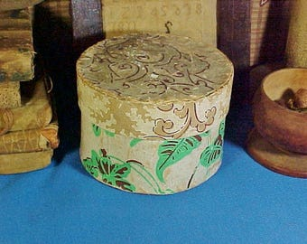 Antique c 1830 Small  Wallpaper Band Box, Top of Stack, Hand Stitched