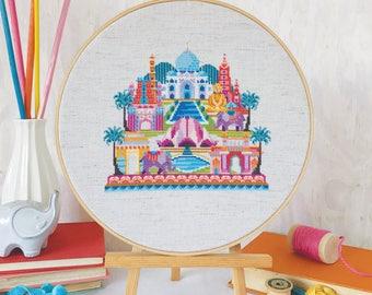 Pretty Little India - printed version - Satsuma Street Modern Cross Stitch Pattern