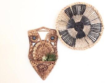 Vintage Ratan Owl Tapestry Wall Pocket Owl w/ Wood Bead Eyes Boho Home Decor Bohemian Nursery