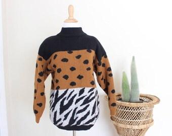 Cheetah Print Merino Wool Sweater Mock Neck Zebra Print Pullover Jumper Sweater Women's Size Small or XS
