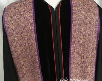 Purple Clergy Stole, Gothic Cross Clergy Stole, Handwoven Clergy Stole, Handmade Clergy Stole, Deacons Stole, Ministers Stole, Vestments