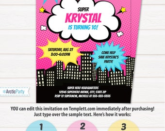 Girl Superhero Party Invitations - Superhero Invitations - Superhero Birthday Invitations - INSTANT DOWNLOAD - Edit NOW with Templett.com!