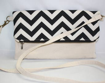 Crossbody Shoulder Bag Clutch in Black and Natural Chevron Canvas and Mannequin Dress Form Print Lining with Detachable Strap