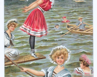Sporty Bathing Beauties Postcard, 1906