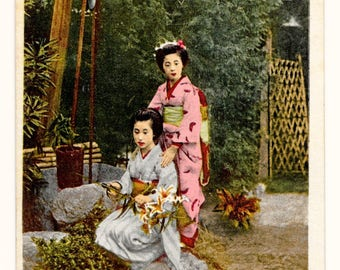 Geishas at the Wishing Well Photo Postcard, c. 1910