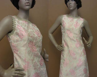 1960s pink & gold metallic dress | 60's mid century glamour