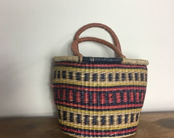 Straw market bag // small woven red blue Purse // jute bag with faux leather handles // woven market bag / summer straw bag //