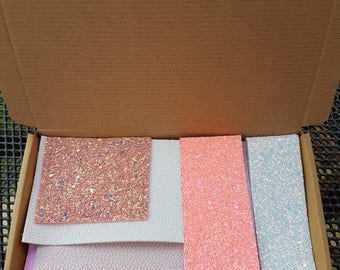 Surprise Fabric Box, range of printed, glitter, leather, iridescent, textured and shimmer fabric sections for hair bow making