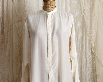 Vintage Mens Silk Dress Shirt