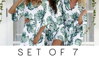 SET OF 7 - 20% Disc - Bespoke Bridesmaid Robes Set of 7 - Panama Palm - Code: P053 (B)