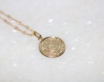 10 Karat Gold Ancient Greek Minoan Phaistos Disc Necklace