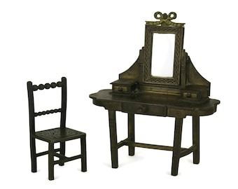 French Antique Bronze Miniature Doll's House Furniture Dressing Table and Chair.