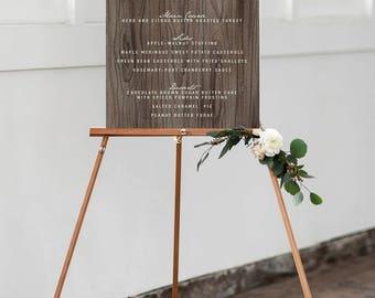 Rustic Wedding Menu Sign - Wooden-look Wedding Reception Menu Poster - Printable or Printed - Barn Wedding Paper Menu Sign