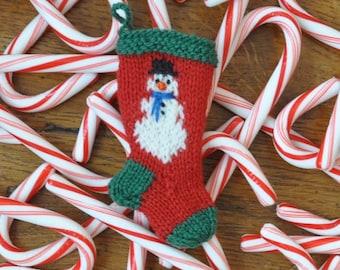 Snowman Hand Knit Christmas Stocking Ornament