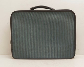 Vintage Blue Tweed Briefcase; Carry On Turquoise Teal Laptop Case; Unisex; FREE SHIPPING U.S.A.