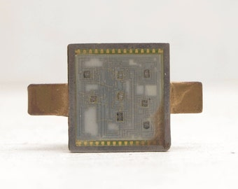 Vintage Microchip Tie Clip Circuit Mother Board 80s Big Chip Computer Geek IT; FREE SHIPPING U.S.A.