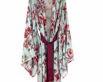Silk kimono, silk robe, brides robe, full length robe, kimono robe, silk chiffon kimono, silk kimono robe, floral silk robe, bridesmaid robe
