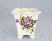 Victorian Violets Planter, Seymour Mann, White Bone China, Purple Flowers, Vintage Flower Pot, Small Floral Planter, Scalloped Edge