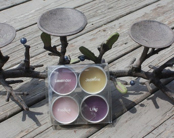 """Rustic organic cast iron branch with leaves and glass berries centerpiece 22"""" candle holder with (4) pack scented candles."""
