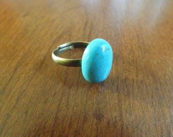 bronze Adjustable ring turquoise 3 mm 18 x 13 mm