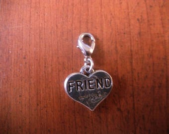 "charm's ""friend"" heart clasp charm"