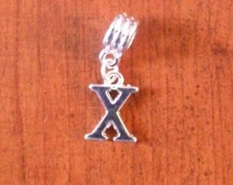 Silver fancy pendant letter X 16 x 12 mm
