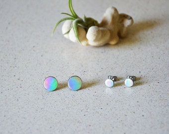 Mermaid earrings, Iridescent studs, Round studs earring, leather earrings, Girl power jewelry, Bright earrings, Shiny jewelry, Tiny studs