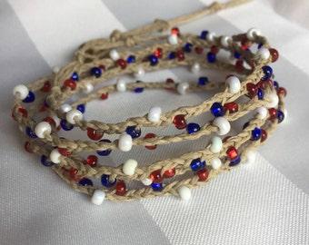 Summer Boho Wrap - Fourth of July Bracelet - 4th of July Jewelry