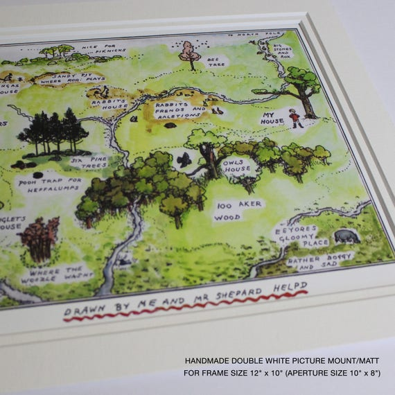 winnie the pooh map print hundred aker wood map 100 acre