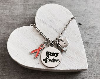 Stay Positive, Kidney cancer, MS, Survivor, Orange Ribbon, Awareness Ribbon, Silver Necklace, Charm Necklace, Multiple Sclerosis, Leukemia,