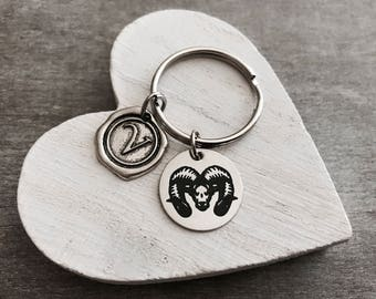The Rams, Ram, Goat, Aries, Team, Rams Coach, Ram Jewelry, Zodiac, Ram Gifts, Silver Keychain, Silver Keyring, Silver Jewelry, Gifts for