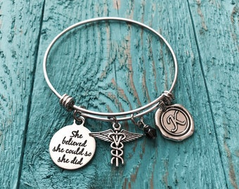 Veterinarian gift, Vet Bracelet, Veterinarian Charm Bracelet, She believed she could so she did, Vet tech  Vet charm, Silver Bangle, Gift
